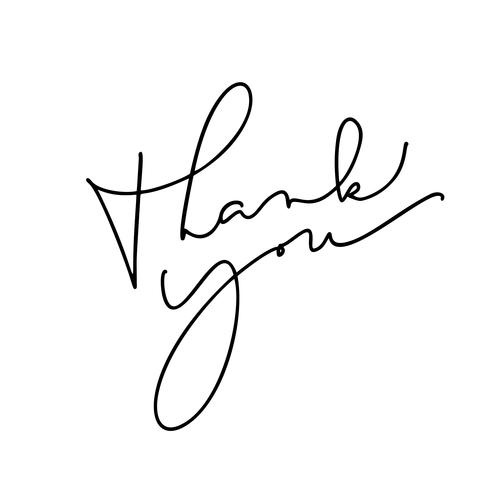 Vintager vektorkalligraphietext danken Ihnen. Hand gezeichnet lokalisiert auf weißem Hintergrund. Kalligraphische Beschriftungsillustration für die Heirat, Grußkarte, Tag