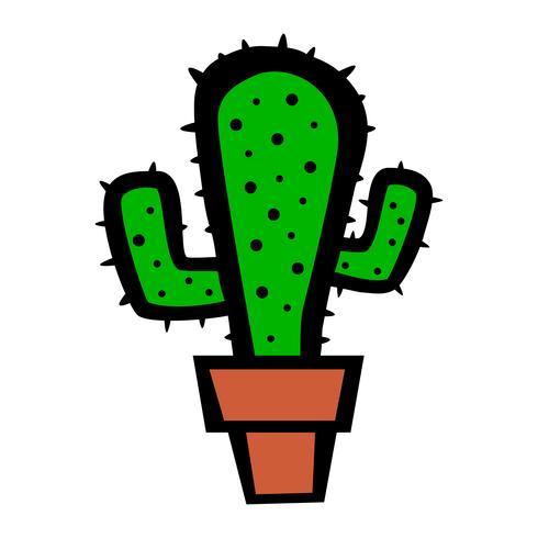 Cactus plant cartoon vector illustration