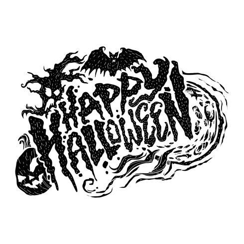 Happy Halloween text design lettering