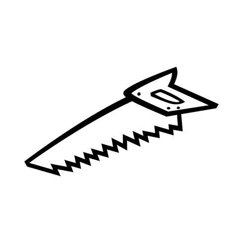Scie à main outil de construction pour couper le bois. Illustration de dessin animé