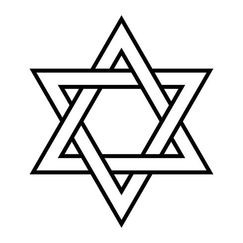 Estrella de David judía Seis estrellas puntiagudas en negro con un icono de vector de estilo entrelazado