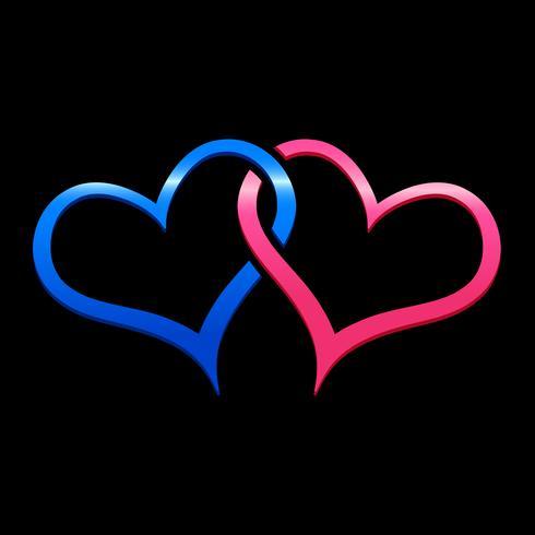 Hjärtan kopplad vektor illustration