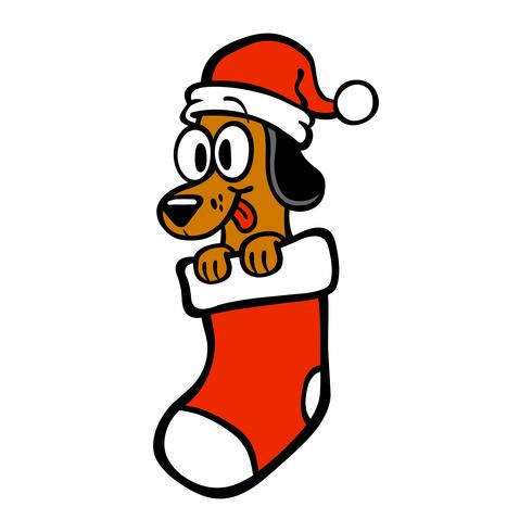Dibujos animados perro santa sombrero navidad media
