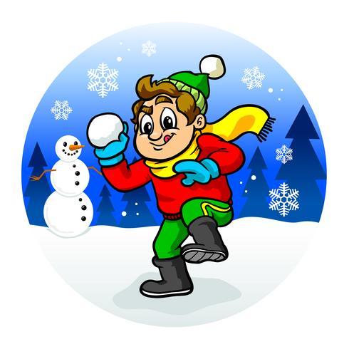 Kid lanciare palle di neve