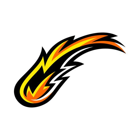 Heiße Flammen-Feuerballvektorkarikatur