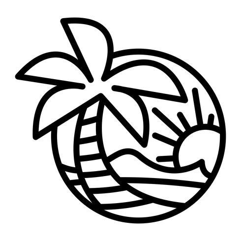 Icona tropicale di vettore di vacanza di festa della palma dell'oceano delle onde della spiaggia di estate