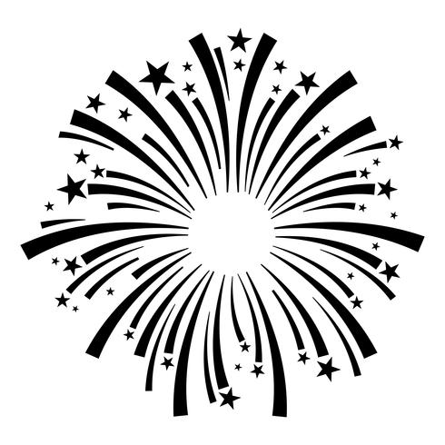 Exploderende vuurwerk logo vector pictogram