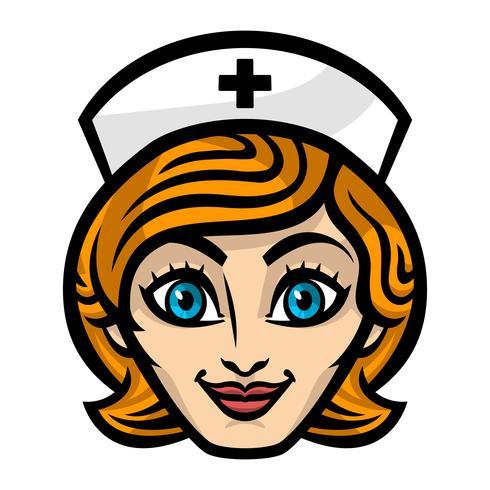 Vriendelijke vrouwelijke verpleegster Cartoon gezicht lach vectorillustratie