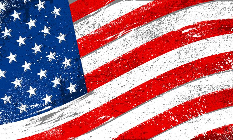 United States of America flag with rough grunge distressed texture vector