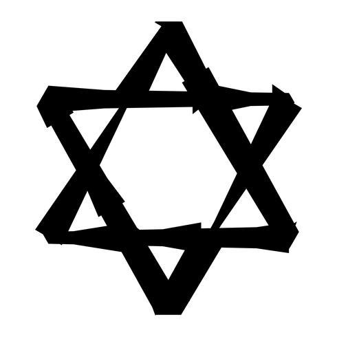 Judiska Davidsstjärnan Sex pekad stjärna i svart med interlocking stil vektorikonen vektor