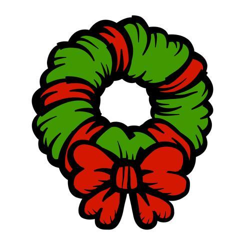 Icono de vector de arco de guirnalda festiva de Navidad
