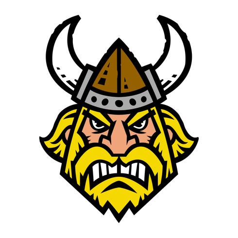 Ilustración vectorial de un vikingo de dibujos animados con un casco con cuernos y barba vector