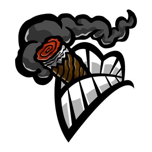 Icona di vettore di denti fumatori bocca denti