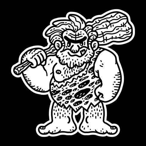 Vetor de desenhos animados de homem das cavernas