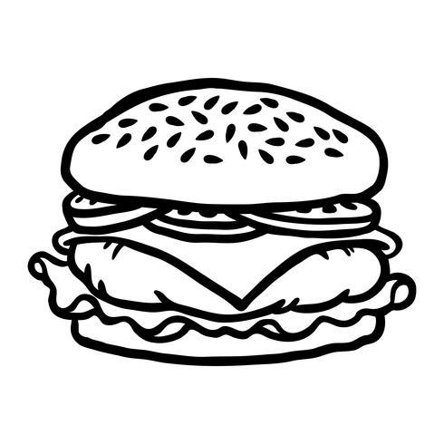 Ilustración de vector de dibujos animados de hamburguesa