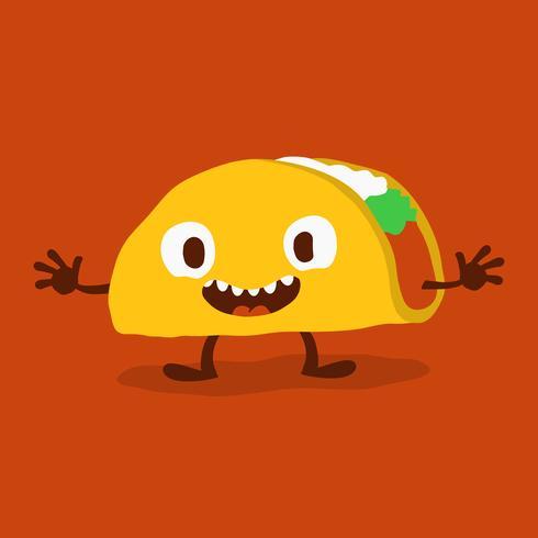 Illustration vectorielle mignon dessin animé drôle Taco vecteur
