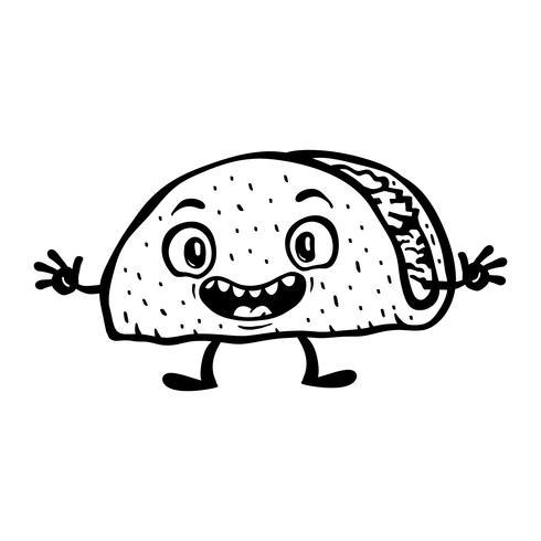 Illustrazione di vettore di Taco divertente cartone animato carino