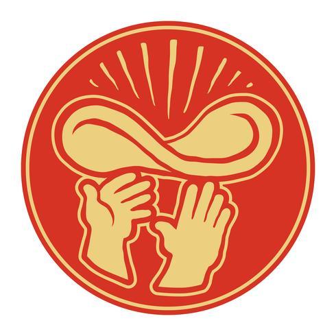Kockarnas händer Kasta Pizza Degen i luften, Pizzeria-vektorlogotypen vektor