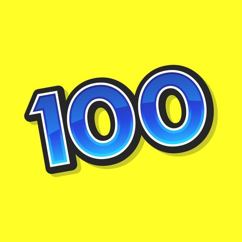 Number 100 / One Hundred Cool Trendy Text Graphic vector