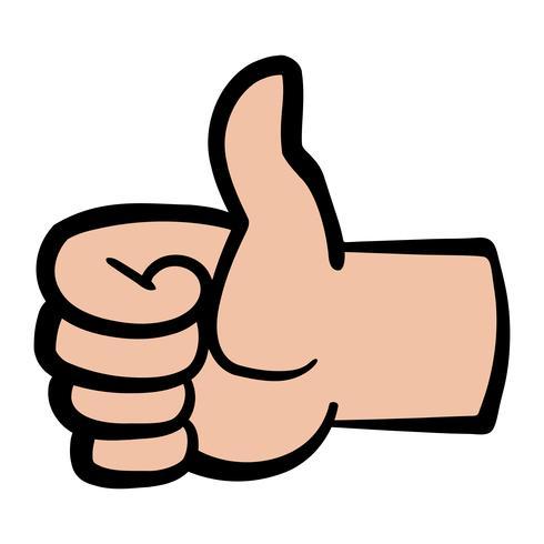 Main de dessin animé faisant un geste positif pouce en l'air