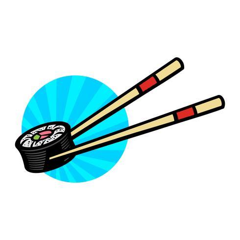 Comida asiática sushi vector