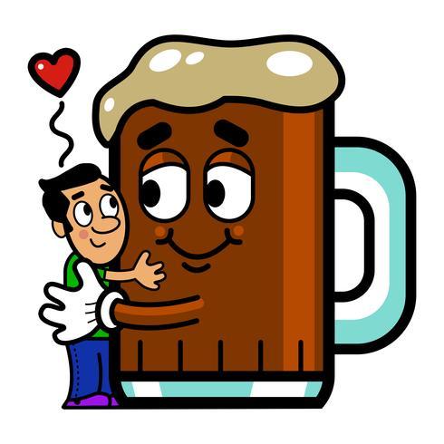 Cartoon Man Hugs Öl grafisk illustration vektor