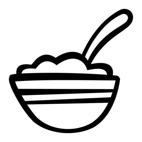 Tazón de icono de vector de cereal