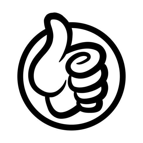 Mano de dibujos animados haciendo pulgares positivos hasta gesto
