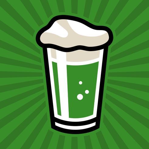 Green Irish Beer Pint Glass Vector Icon