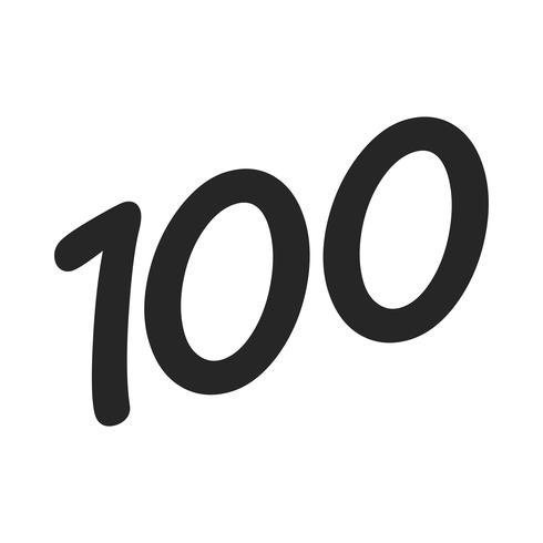 Número 100/100 gráficos de texto na moda legal