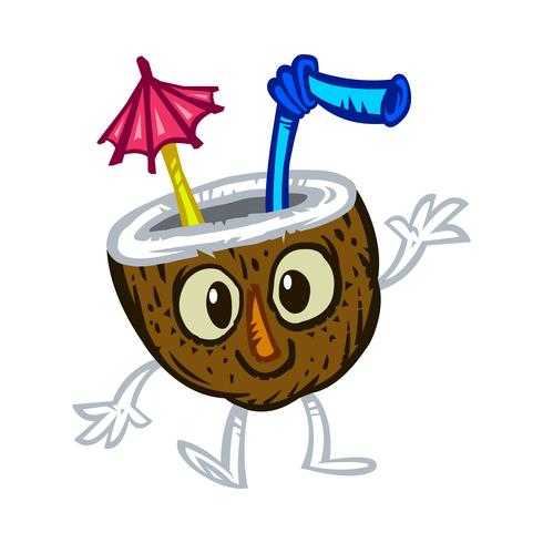 Tropical coconut drink illustration