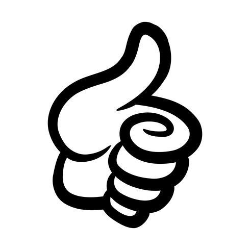 Cartoon Hand Making Positive Thumbs Up Gesture