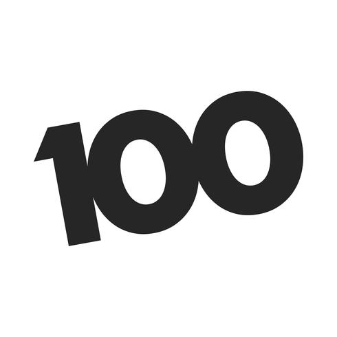Nummer 100 / One Hundred Cool Trendy Text Graphic