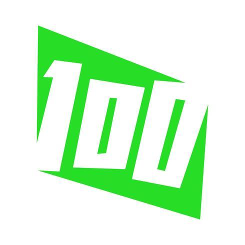 Numero 100 / Cento grafici di testo alla moda vettore