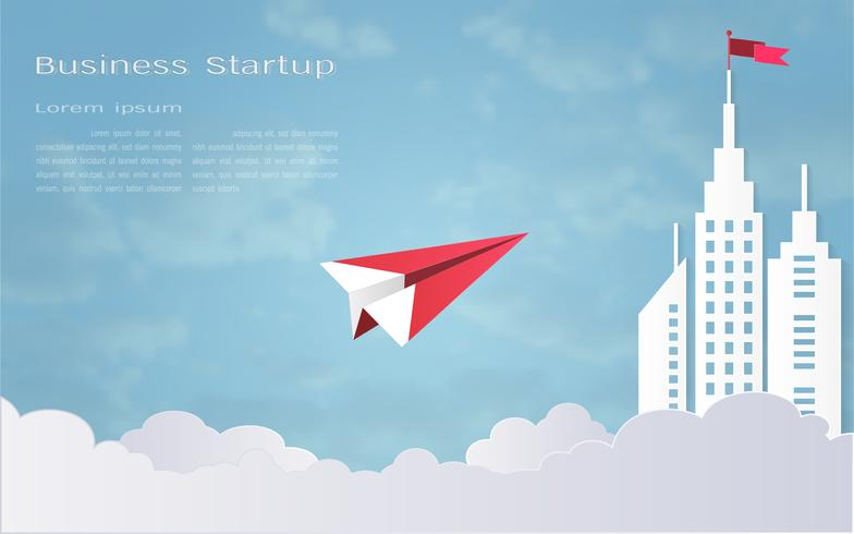 Leadership concept, Red plane and white architectural building landscape with a flag on the top, Blue sky background. vector