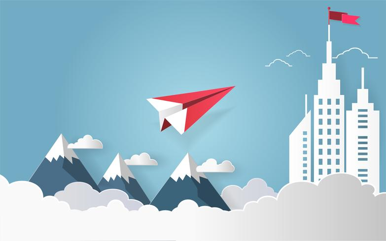 Leadership concept, Red plane flying on sky with cloud over mountain and architectural building with a flag on the top. vector