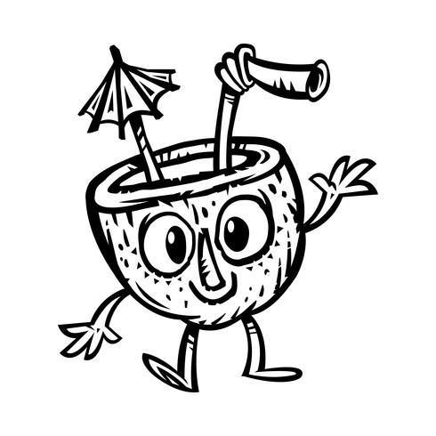 Tropical coconut drink illustration