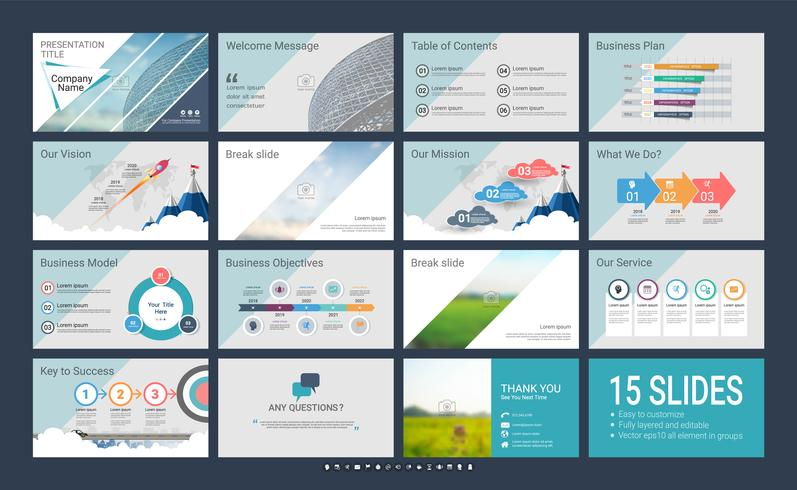 Presentation slide template for your company with infographic elements. vector