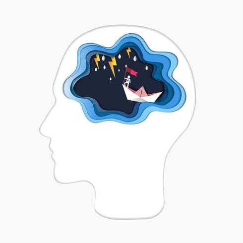 Denkendes Erfolgskonzept, Kopf mit Gehirn und Mann auf die Oberseite, die Flagge mit Boot gegen verrücktes Meer und Blitz im Sturm hält.