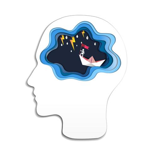 Thinking success concept, Head with brain and man on top holding flag with boat against crazy sea and thunderbolt in storm. vector