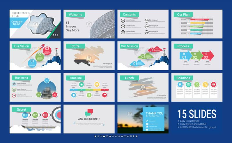 Modello di diapositiva di presentazione per la tua azienda con elementi infographic.
