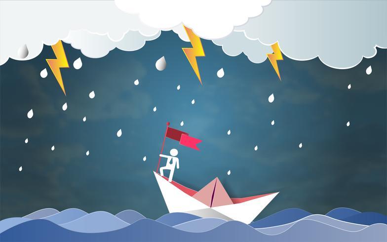 Ledarskaps framgång begrepp, Man på toppen håller flagga med båt mot galet hav och åska i storm.