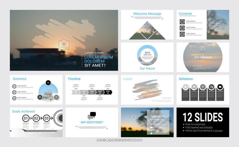 Präsentationsfolienvorlage für Ihr Unternehmen mit Infografik-Elementen.