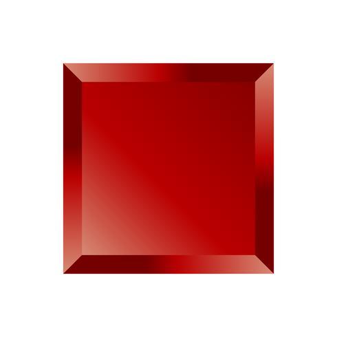 Rote abgeschrägte quadratische Schaltfläche