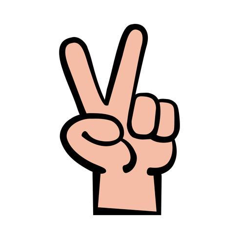 Mão, paz, sinal, caricatura, vetorial, ilustração