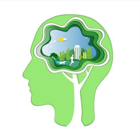 Grüne Energie und Abwehrumweltkonzept, menschlicher Kopf mit Gehirn, Mann und Hund laufen in die Stadtparks und schaffen einen neuen Ideenhintergrund.