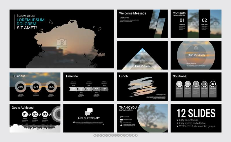 Plantilla de presentación de diapositivas para su empresa con elementos infográficos. vector