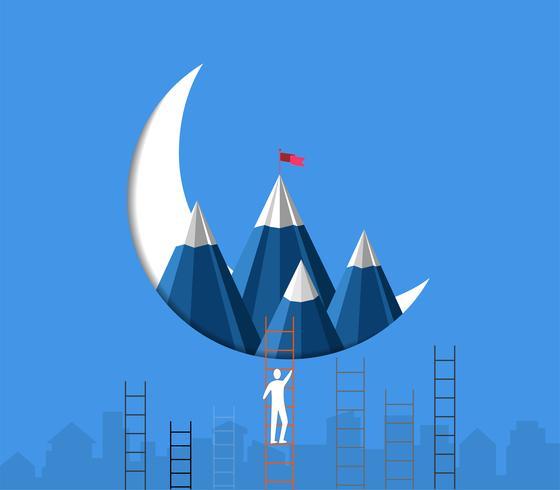 Concepto de éxito de liderazgo, el hombre de negocios que sube escaleras está compitiendo para alcanzar la montaña con una bandera en la parte superior. vector