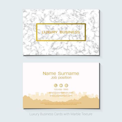 Modello, insegna e copertura di lusso di vettore dei biglietti da visita con struttura di marmo e dettagli dorati della stagnola su fondo bianco.