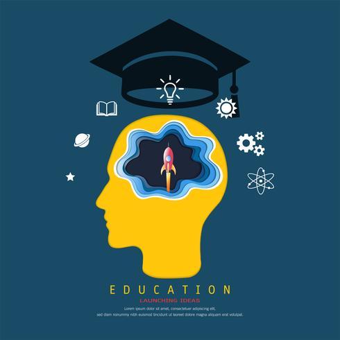Concepto de educación y aprendizaje, Brain brain y cohete espacial de lanzamiento. Sobre su cabeza hay una gorra de graduación e íconos de conocimiento.
